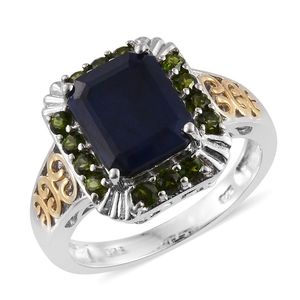 Madagascar Blue Sapphire, Russian Diopside 14K YG and Platinum Over Sterling Silver Ring (Size 7.0) TGW 6.65 cts.