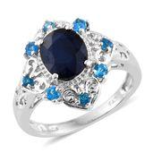Kanchanaburi Blue Sapphire, Malgache Neon Apatite Platinum Over Sterling Silver Ring (Size 8.0) TGW 3.67 cts.