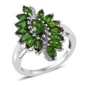 Russian Diopside, White Zircon Platinum Over Sterling Silver Ring (Size 9.0) TGW 3.590 cts.