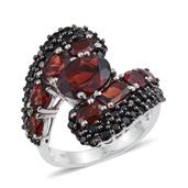 Mozambique Garnet, Thai Black Spinel Platinum Over Sterling Silver Bypass Ring (Size 9.0) TGW 9.805 cts.