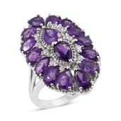 Lusaka Amethyst, Cambodian Zircon Platinum Over Sterling Silver Elongated Ring (Size 10.0) TGW 7.470 cts.