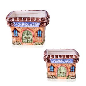 Set of 2 Square House Ceramic Flower Garden Pots (4x4.5x4.5, 3.5x4x4 in)