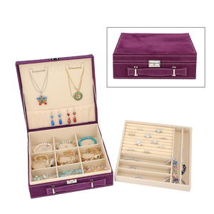 Violet Velvet Briefcase Style 2-Tier Jewelry Box with Anti-Tarnish and Scratch Protection Interior (Approx 60 Rings, etc) (10x3x10 in)