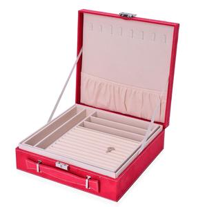 TLV Red Velvet Briefcase Style 2-Tier Jewelry Box with Anti-Tarnish and Scratch Protection Interior (Approx 60 Rings, etc) (10x3x10 in)