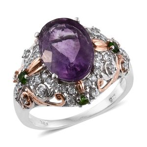 Purple Fluorite, Russian Diopside, White Zircon 14K RG and Platinum Over Sterling Silver Ring (Size 5.0) TGW 7.57 cts.
