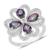 Northern Lights Mystic Topaz, White Zircon Sterling Silver Clover Ring (Size 6.0) TGW 3.44 cts.