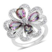 Northern Lights Mystic Topaz, White Zircon Sterling Silver Clover Ring (Size 7.0) TGW 3.44 cts.
