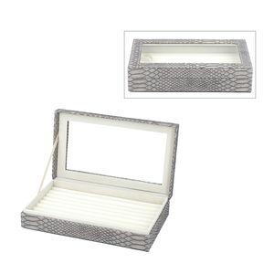 Gray Faux Leather Dragon Skin Pattern Jewelry Box (10.1x6x2.2 in) TGW 250.000 cts.