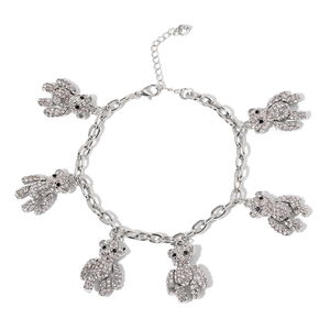 White and Black Austrian Crystal Silvertone Bear Charms Anklet (9.00 In)