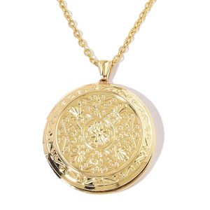ION Plated YG Stainless Steel Locket Pendant With Chain (24 in)