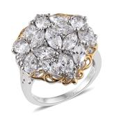 J Francis - 14K YG and Platinum Over Sterling Silver Cluster Ring Made with SWAROVSKI ZIRCONIA (Size 6.0) TGW 9.440 cts.