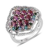 J Francis - Platinum Over Sterling Silver Openwork Ring Made with Multi Color SWAROVSKI ZIRCONIA (Size 7.0) TGW 4.79 cts.