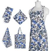Blue Butterfly Print Kitchen Set- Apron with Pockets, Kitchen Towel, Pot Holder and Oven Mit with Matching Bag (17.5x14 in)