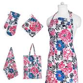 Flower Print Kitchen Set- Apron with Pockets, Kitchen Towel, Pot Holder and Oven Mit with Matching Bag (17.5x14 in)