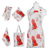 Red Fox Print Kitchen Set- Apron with Pockets, Kitchen Towel, Pot Holder and Oven Mit with Matching Bag (17.5x14 in)