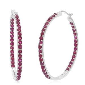 Burmese Ruby Sterling Silver Inside Out Hoop Earrings TGW 4.86 cts.