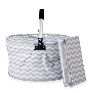 2 Piece Gray and White Chevron Polyester Collapsible Insulated Picnic Basket with Matching Foldable Waterproof Blanket (55x44 In)