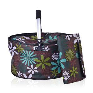 2 Piece Brown Multi Color Floral Polyester Collapsible Insulated Picnic Basket with Matching Foldable Waterproof Blanket (55x44 In)