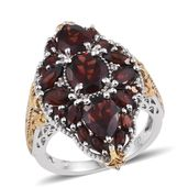 Mozambique Garnet, White Zircon 14K YG and Platinum Over Sterling Silver Elongated Ring (Size 5.0) TGW 8.95 cts.