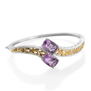 Purple Fluorite 14K YG and Platinum Over Sterling Silver Openwork Bypass Bangle (7.50 in) TGW 14.92 cts.