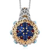 Himalayan Kyanite, Arizona Sleeping Beauty Turquoise, Ruby 14K YG and Platinum Over Sterling Silver Pendant With Chain (20 in) TGW 4.70 cts.