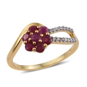 Burmese Ruby, White Zircon 14K YG Over Sterling Silver Bypass Ring (Size 9.0) TGW 1.20 cts.