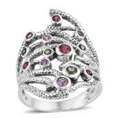 Madagascar Pink, Green and Red Sapphire Sterling Silver Openwork Elongated Ring (Size 8.0) TGW 1.00 cts.