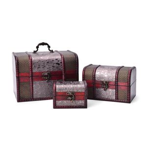 Treasure Chest Embossed Silver Floral Pattern Faux Leather Set of 3 Storage Boxes (8.5x6x6, 6x4.5x4.5, 4.5x3x3 in)