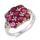 Niassa Ruby, White Topaz 14K YG and Platinum Over Sterling Silver Split Ring (Size 9.0) TGW 4.61 cts.