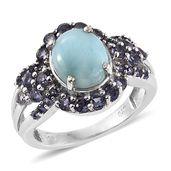 Larimar, Catalina Iolite Platinum Over Sterling Silver Ring (Size 7.0) TGW 5.02 cts.