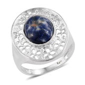 KARIS Collection - Sodalite Platinum Bond Brass Pierced Ring (Size 8.0) TGW 4.58 cts.