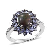Ethiopian Sable Welo Opal, Tanzanite, White Topaz Platinum Over Sterling Silver Ring (Size 7.0) TGW 3.15 cts.