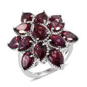 Blooming Desire Orissa Rhodolite Garnet Platinum Over Sterling Silver Star Gaze Ring (Size 7.0) TGW 12.45 cts.