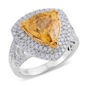 14K WYG Tanzanian Zircon, Diamond Ring (Size 7.0) TDiaWt 0.67 cts, TGW 6.64 cts.