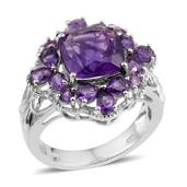 Lusaka Amethyst Platinum Over Sterling Silver Ring (Size 7.0) TGW 6.300 cts.