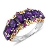Lusaka Amethyst, Ruby 14K YG and Platinum Over Sterling Silver 7 Stone Ring (Size 9.0) TGW 5.410 cts.