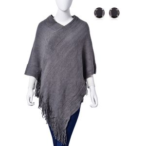 Gray 100% Acrylic Poncho with Tassel (29.5x3.5 in) and Simulated black Diamond Stainless Steel Stud Earrings TGW 2.00 cts.