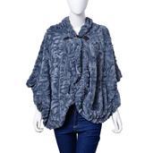 J Francis - Slate Blue 100% Polyester Faux Fur Button Ruana