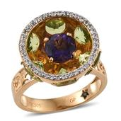 GP Amethyst, Multi Gemstone 14K YG Over Sterling Silver Openwork Elegant Ring (Size 5.0) TGW 7.810 cts.