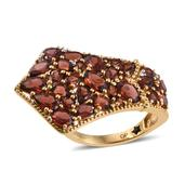 GP Mozambique Garnet, White Zircon 14K YG Over Sterling Silver Ring (Size 9.0) TGW 8.32 cts.