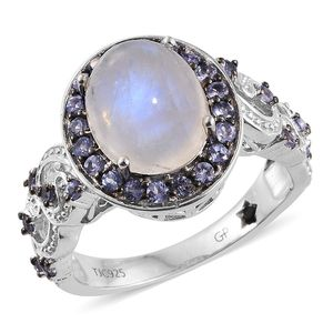 GP Sri Lankan Rainbow Moonstone, Tanzanite Platinum Over Sterling Silver Ring (Size 8.0) TGW 6.180 cts.