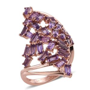 Everlasting by Katie Rooke Amethyst 14K RG Over Sterling Silver Ring (Size 5.0) TGW 4.50 cts.
