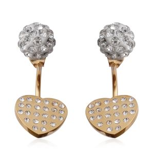Austrian Crystal ION Plated YG Stainless Steel Ear Jacket Heart Earrings TGW 0.001 Cts.
