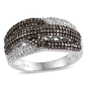 Champagne Diamond, Diamond Platinum Over Sterling Silver Criss Cross Ring (Size 7.0) TDiaWt 1.00 cts, TGW 1.00 cts.