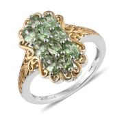 Merelani Mint Garnet 14K YG and Platinum Over Sterling Silver Openwork Ring (Size 7.0) TGW 2.66 cts.
