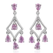 Madagascar Pink Sapphire Platinum Over Sterling Silver Dangle Earrings TGW 1.55 cts.
