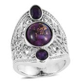 Mojave Purple Turquoise, Amethyst Stainless Steel Ring (Size 7.0) TGW 5.570 cts.