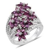 Purple Garnet, White Zircon Platinum Over Sterling Silver Openwork Elongated Floral Ring (Size 6.0) TGW 3.240 cts.