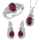 Niassa Ruby, Tanzanite, White Zircon Platinum Over Sterling Silver Earrings, Ring (Size 9) and Pendant With Chain (20 in) TGW 7.95 cts.