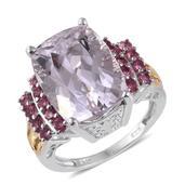 Urukun Kunzite, Pink Tourmaline 14K YG and Platinum Over Sterling Silver Ring (Size 8.0) TGW 15.74 cts.